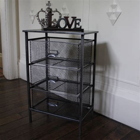 Wire Mesh Storage Drawers by Grey Metal Mesh Three Drawer Storage Unit Bedside Chest Of