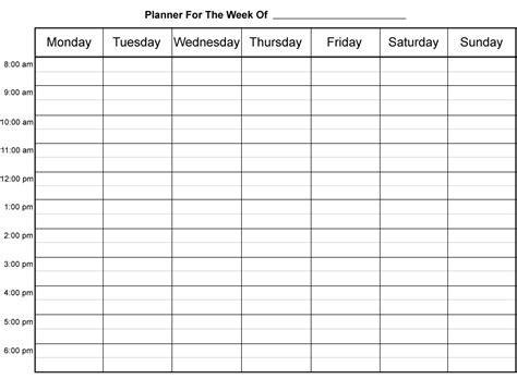 Weekly Calendar By Hour Weekly Calendar Template Half Hour Schedule Template
