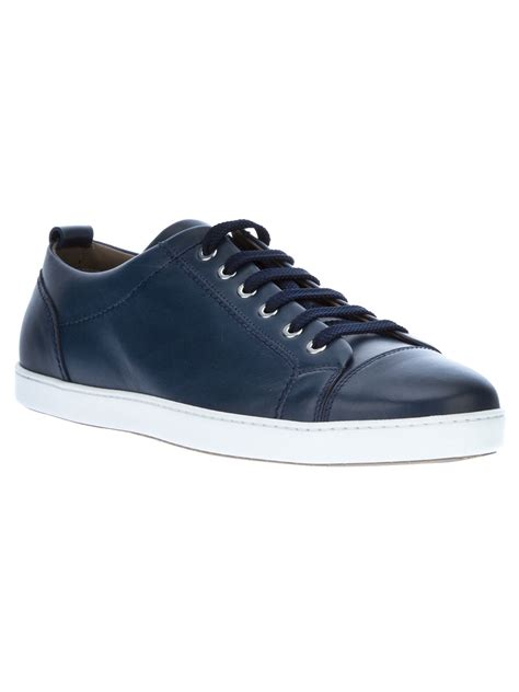 blue leather sneakers brioni leather lace up sneakers in blue for lyst