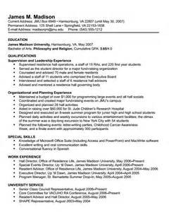 Resume Sles For Students by Resume Format