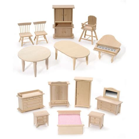 miniature mini dollhouse pine wood bedroom dining