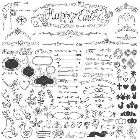 doodle resurrection easter doodle borders egg badges ribbons floral stock