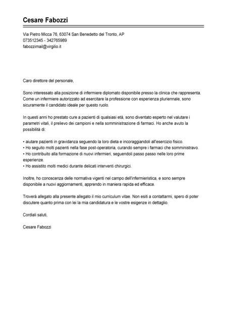 lettere di presentazione per cv esempio lettera di presentazione infermiere modello