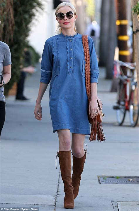 Dress Deniminner kate bosworth unleashes inner in denim dress and knee high boots daily mail