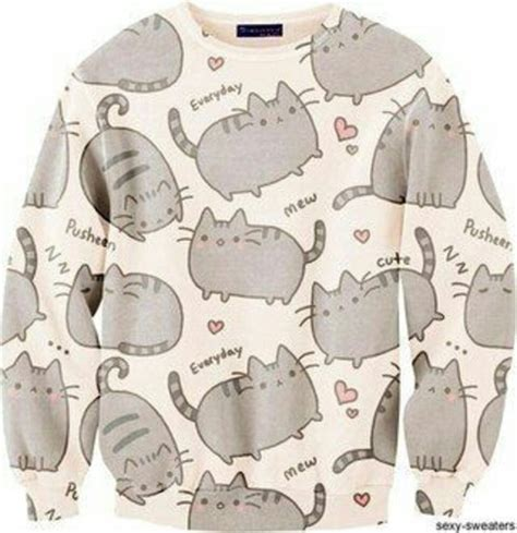 6901 Setelan Cat Meow Denim sweater meow cats pusheen cat sweater hoodie kawaii wheretoget