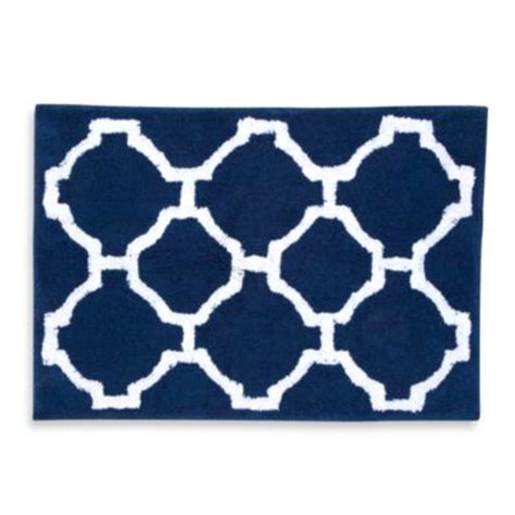 buy navy and white bathroom rug from bed bath beyond