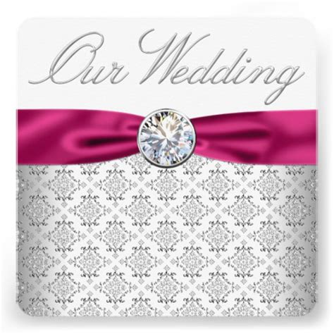 pink and silver wedding invitations damask silver and pink wedding 5 25 quot square invitation