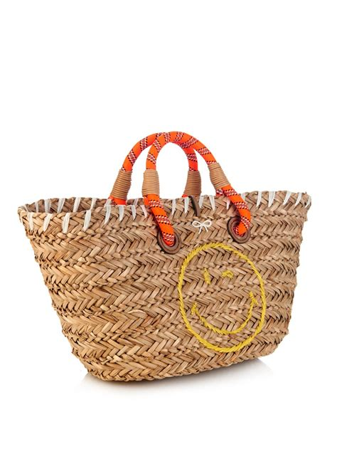 Anya hindmarch Wink Small Straw Beach Bag in Brown | Lyst Leather Jackets For Women Light Brown