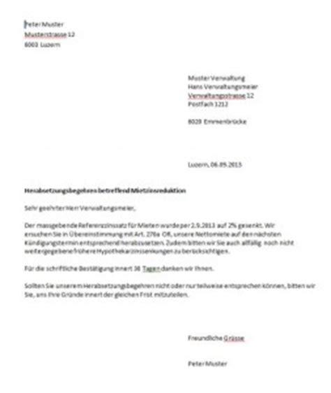 Schweiz Brief Beispiel Mietzinsreduktion Musterbrief Muster Und Vorlagen Kostenlos