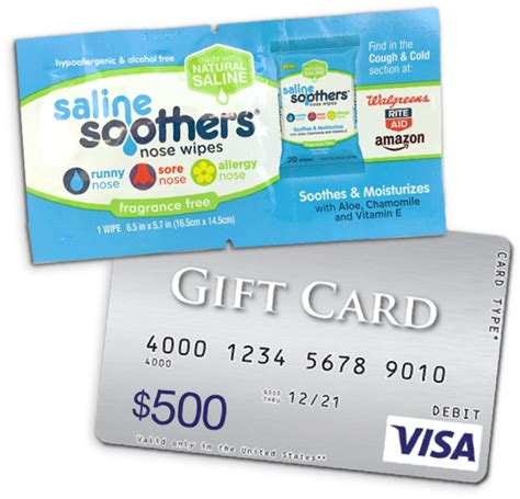 Free 500 Gift Card - free sample saline soothers nose wipes 500 gift card sweepstakes freestuff com