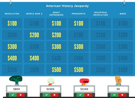 Make Engaging Jeopardy Style Educational Quiz Game Board Templates For School Or Class Projects Jeapordy Maker