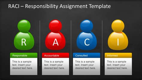 Raci Template For Powerpoint With Sticky Notes Blackboard Slidemodel Matrix Powerpoint Template