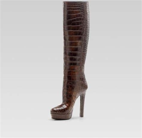 gucci high heel platform boot in brown lyst