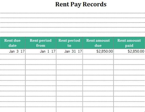 payment record template excel rent pay records