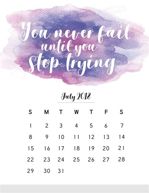 Calendar 2018 Quote 2018 Monthly Calendar With Quotes Calendar 2018