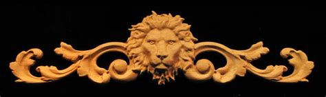 wood carved onlay featuring  regal lion head combined