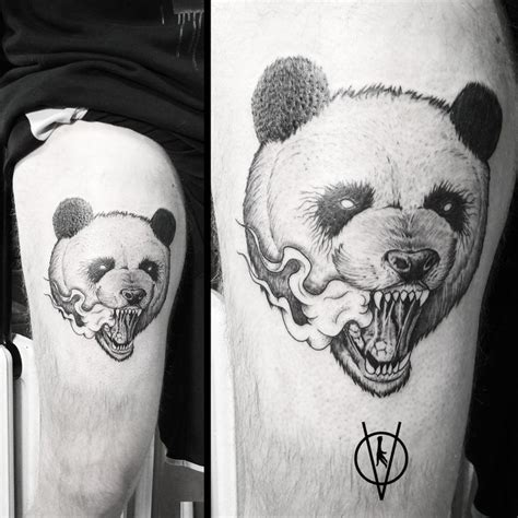 panda tattoo on thigh angry panda tattoo tattoo spot chicken leg skech