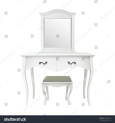 isolated white antique bedroom vanity table stock vector