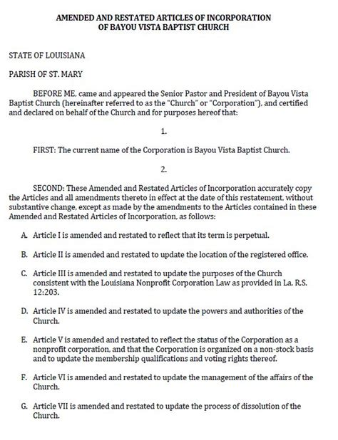 Documents And Pdf Templates Nonprofit Articles Of Incorporation Template For Churches