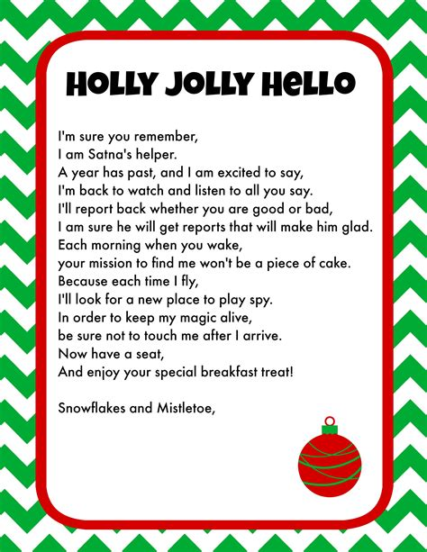 free printable elf on the shelf hello letter elf on the shelf breakfast ideas printable letter