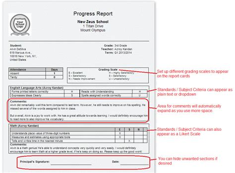 primary school report cards template report cards for primary k 3 k 8 schools school