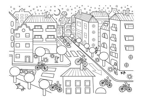 ciudad de dibujos para colorear dibujo para colorear de una ciudad