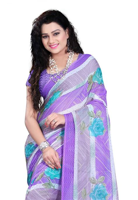 Id 459 Purple Ethnic Blouse buy purple printed chiffon saree with blouse