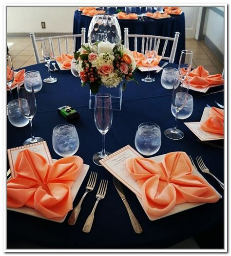 Navy Blue And Coral Wedding