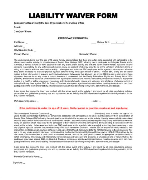 free printable liability waiver sle form generic 17