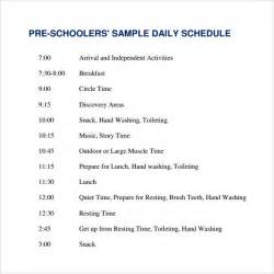 Preschool Schedule Template by Sle Printable Daily Schedule Template 17 Free