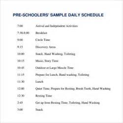 preschool schedule template sle printable daily schedule template 17 free