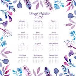 Calendar 2018 Printable Floral Watercolor Blue And Pink Floral Calendar 2018 Vector