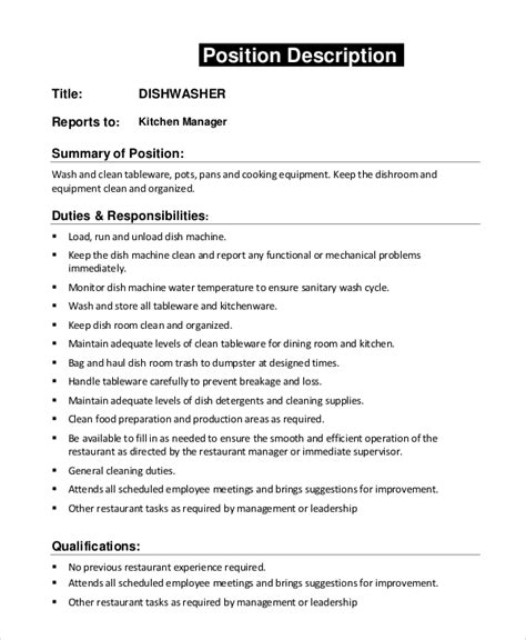 Resume Sample Kitchen Helper by Sample Dishwasher Job Description 8 Examples In Pdf Word