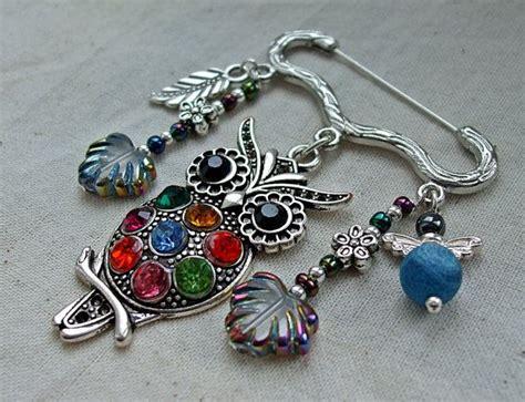 owl kilt pin brooch beaded bee and flower dangles brooches bijoux verre