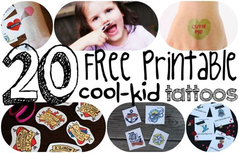 20 free printable cool kid temporary tattoos