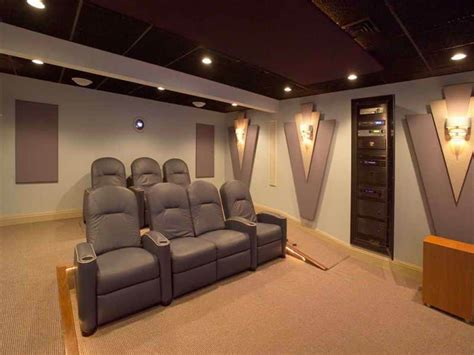 home theater  grey seats  recessed lights