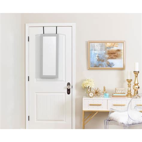 gray mirrored jewelry armoire innerspace luxury products gray space saver mirrored