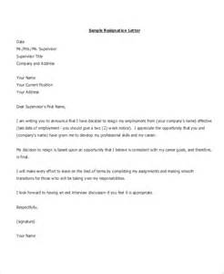 Resignation Letter Format Clear My Dues Formal Resignation Letter Sle 8 Exles In Word Pdf