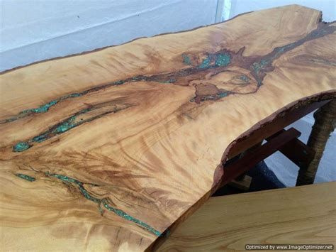 live edge table with turquoise inlay turquoise inlay console table rustic artistry