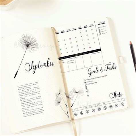 layout design for journal printable dandelion monthly log bullet journal insert