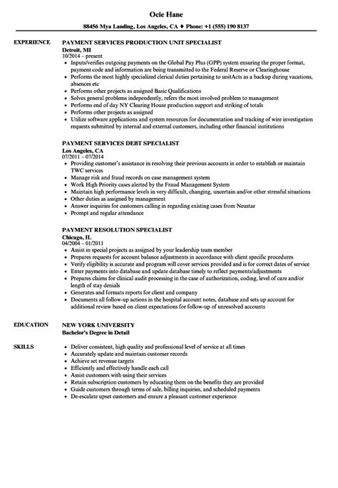 Specialist Resume by Specialist Payment Resume Sles Velvet