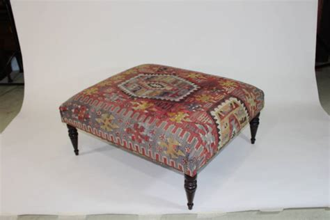 covered ottoman chic antique 19th century kilim covered ottoman bench for