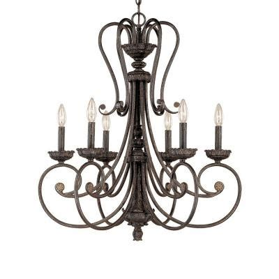 Millennium Lighting 6 Light Burnished Gold Candle Candle Chandelier Home Depot
