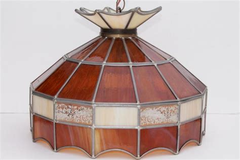 Mid Century Light Fixtures 70s Vintage Swag Lamp Pendant Light W Amber Stained Glass