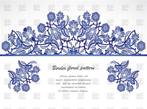 Wedding Border Eps by Blue Floral Border With Flowers And Leaves Wedding Card
