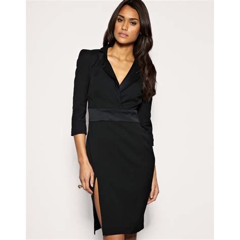 Be Bold With The Creta Dress From Connection by Connection Bold Shoulder V Neck High Slit Pencil