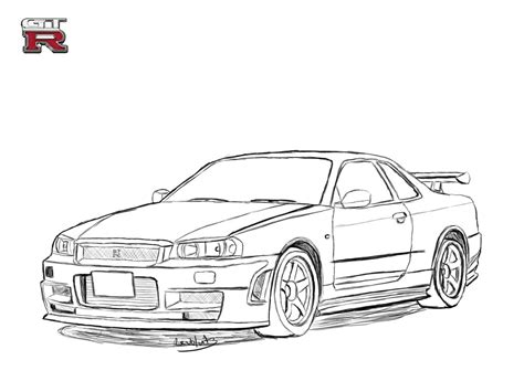 nissan skyline drawing outline nissan skyline r34 drawing by revolut3 on deviantart