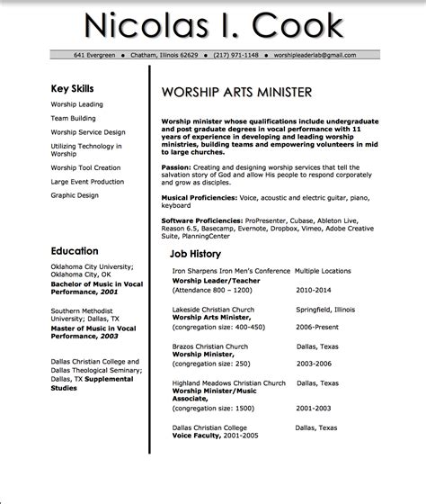 Church Worship Leader Sle Resume by Nic Cook Worship Resume Church Leader Lab