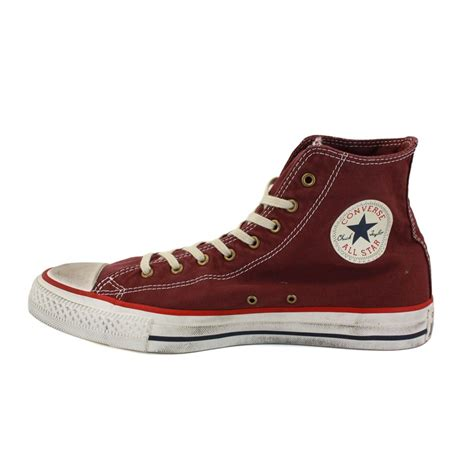 Sepatu Converse Chuck Ii Maroon Made In 1 converse chuck washed canvas hi 139909c unisex laced canvas trainers burgundy