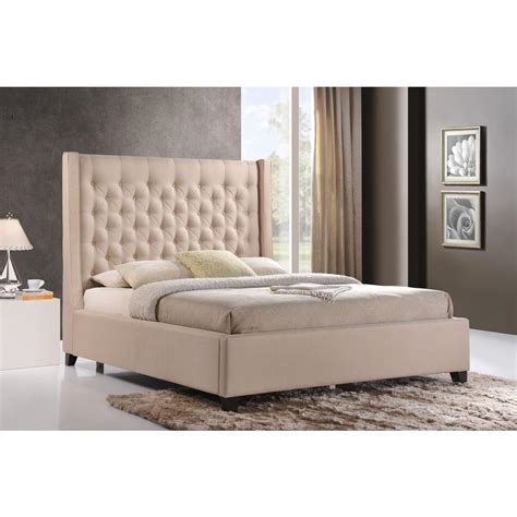 upholstered bed luxeo huntington sand king upholstered bed k6479 222 the home depot